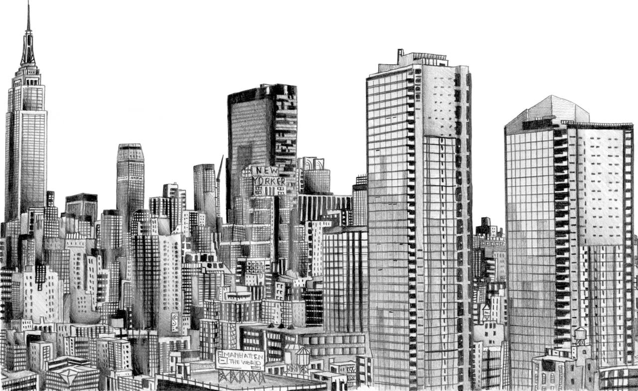 Skyscraper PNG Black And White - 86999