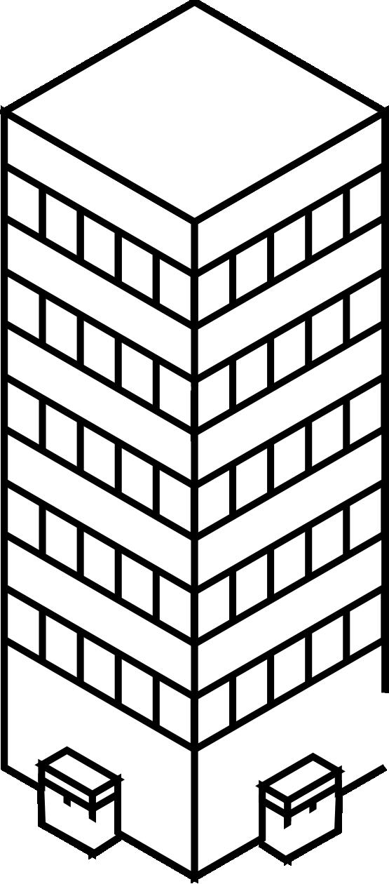 Skyscraper PNG Black And White - 87011