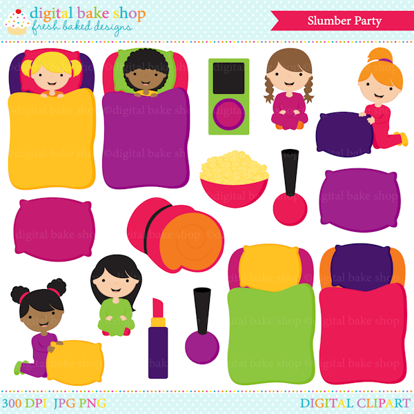 Girls Slumber Party Digital Clip Art: This digital clipart set includes 6  girls, sleeping - Slumber Party PNG HD
