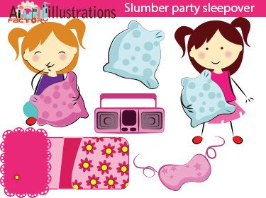 Items similar to slumber party cute pink girls sleepover clipart-digital png  clipart for scrapbooking, commercial use, vector graphics- CA0214 on Etsy - Slumber Party PNG HD