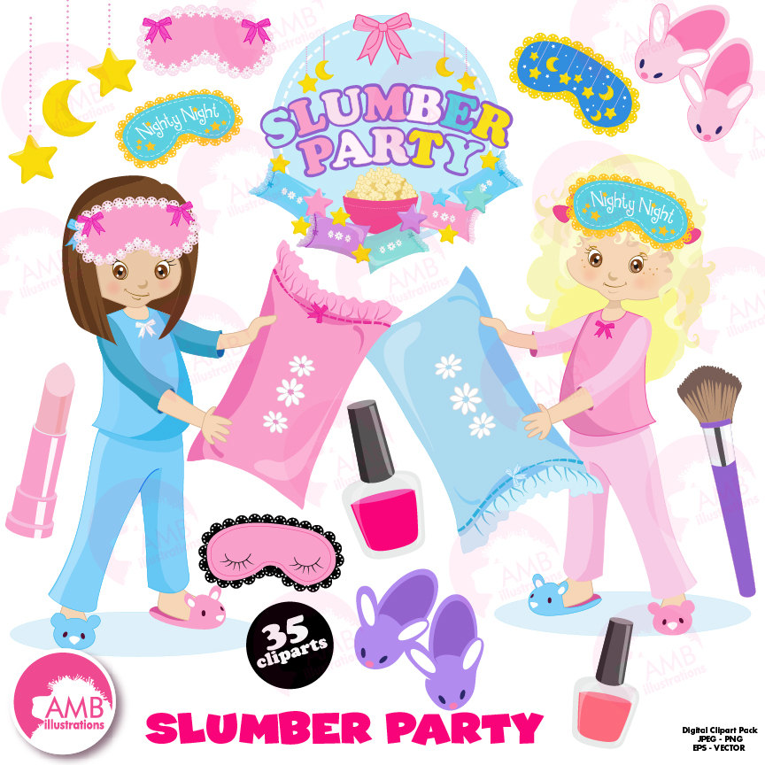 Slumber party, girls sleep over, pyjama party clipart, Birthday party  clipart, commercial - Slumber Party PNG HD