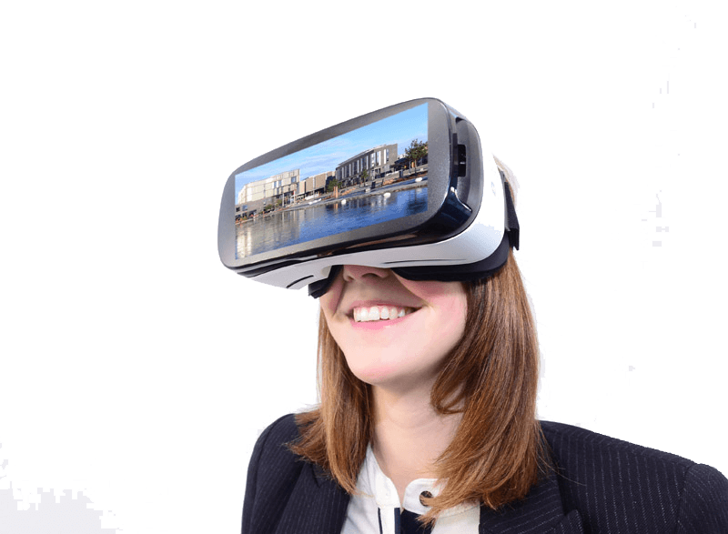 Smiling woman wearing virtual reality headset - Virtual Reality PNG
