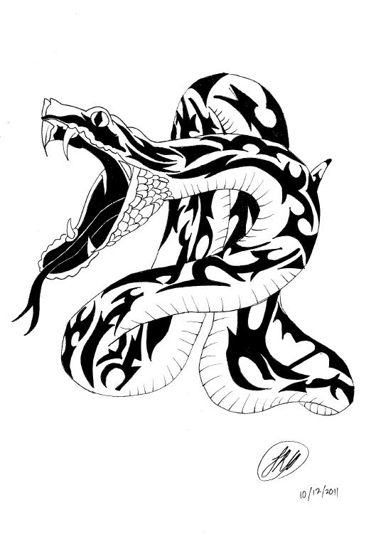 Snake Tattoo Design by FatLittleSeal PlusPng.com  - Snake Tattoo PNG