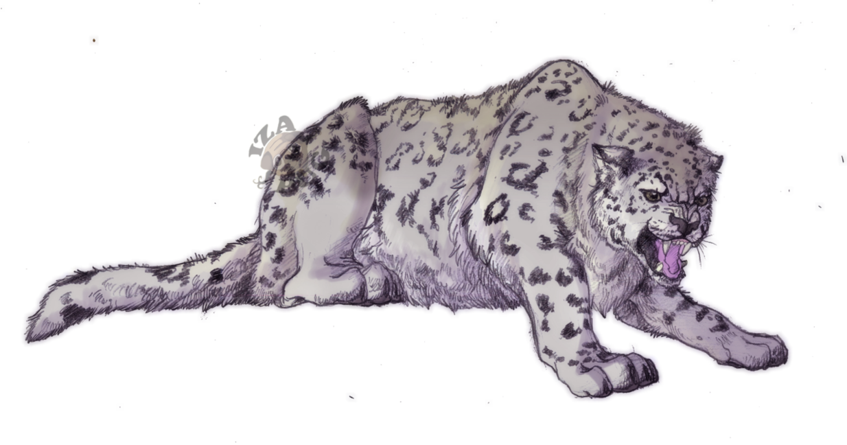 Angry snow leopard by izaefer-d526ffy.png - Snow Leopard PNG