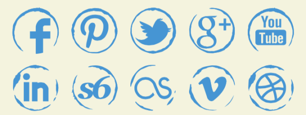 Sketch Vector Stamp Icons - Social Icons PNG