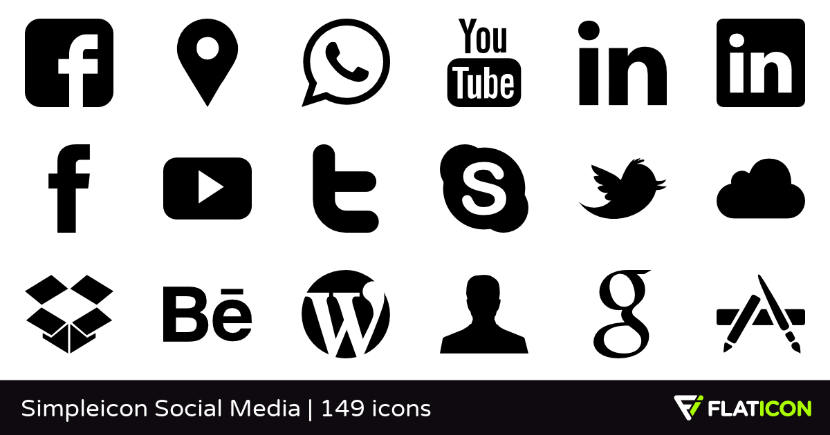 Social media icons with water