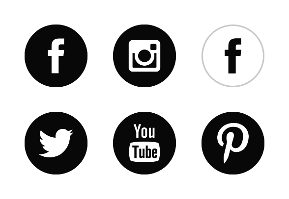 black-white-social-media.png (588×406) - Social - Social Media Icons PNG