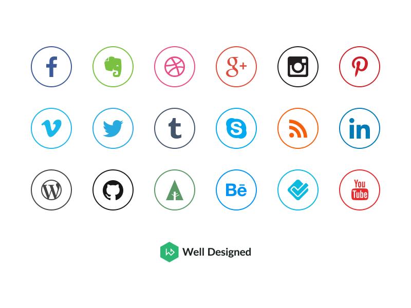 Social Media Icons by Dawid D