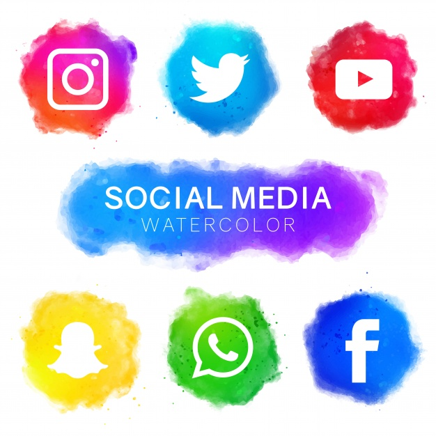 Social media icons with watercolor design - Social Media Icons PNG