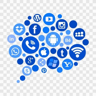 Blue social media icons - Social Media Vector PNG