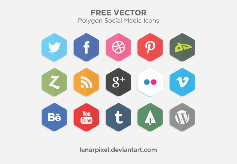 Free Vector Polygon Social Media Icons. polygon - Social Media Vector PNG