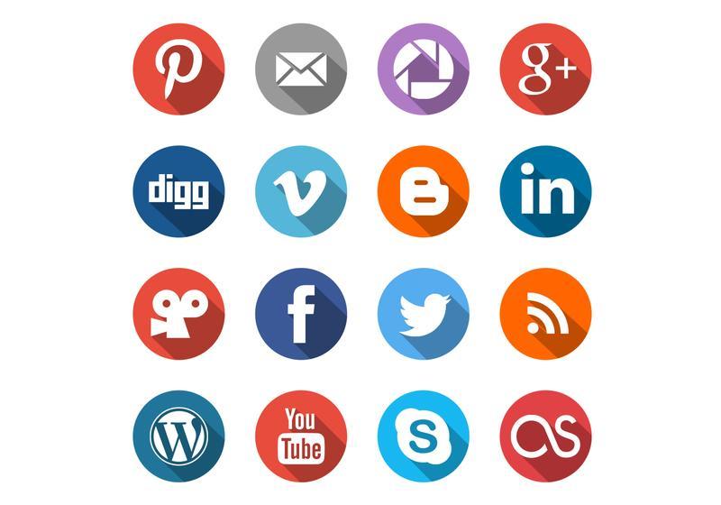 Round Social Media Icons Vector Set - Social Media Vector PNG