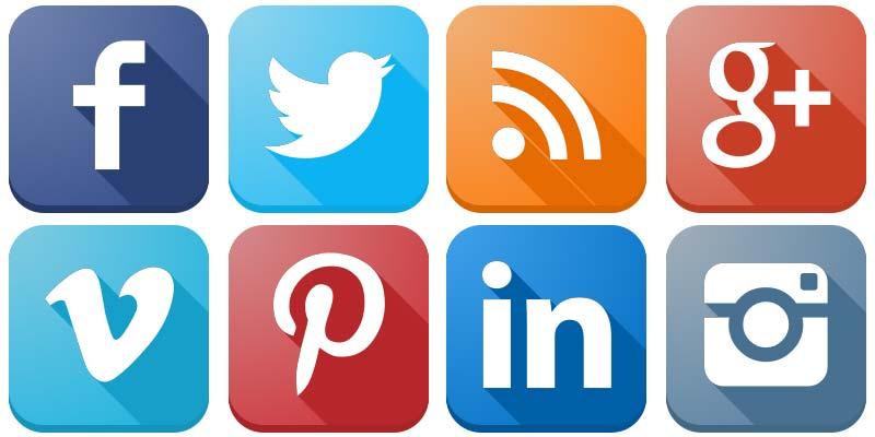 Social Media Icons Vector - Social Media Vector PNG