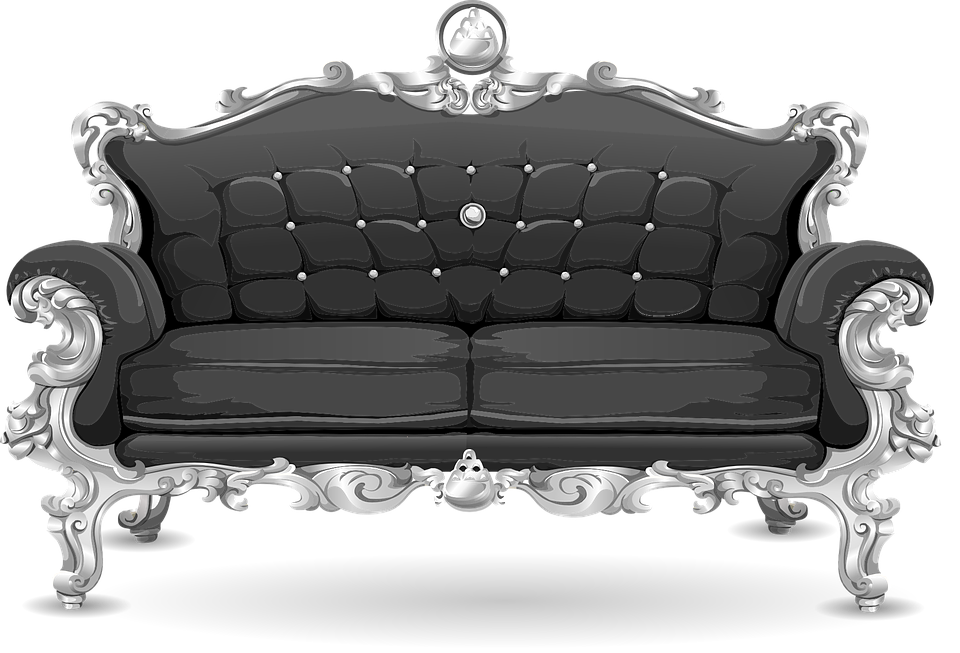 Couch, Sofa, Loveseat, Black, Ornate, Cushions - Couch HD PNG - Sofa HD PNG