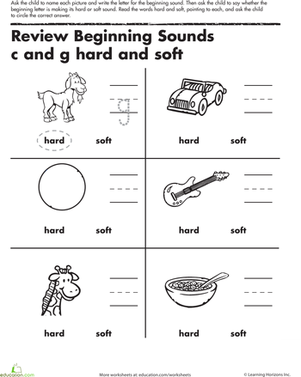 Kindergarten Reading u0026 Writing Worksheets: Review Beginning Sounds C and G - Soft Sound PNG Black And White