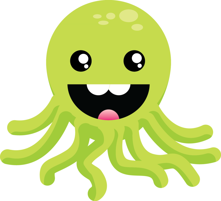 Cute Green Octopus by nameIsRaJ PlusPng.com  - Sotong PNG