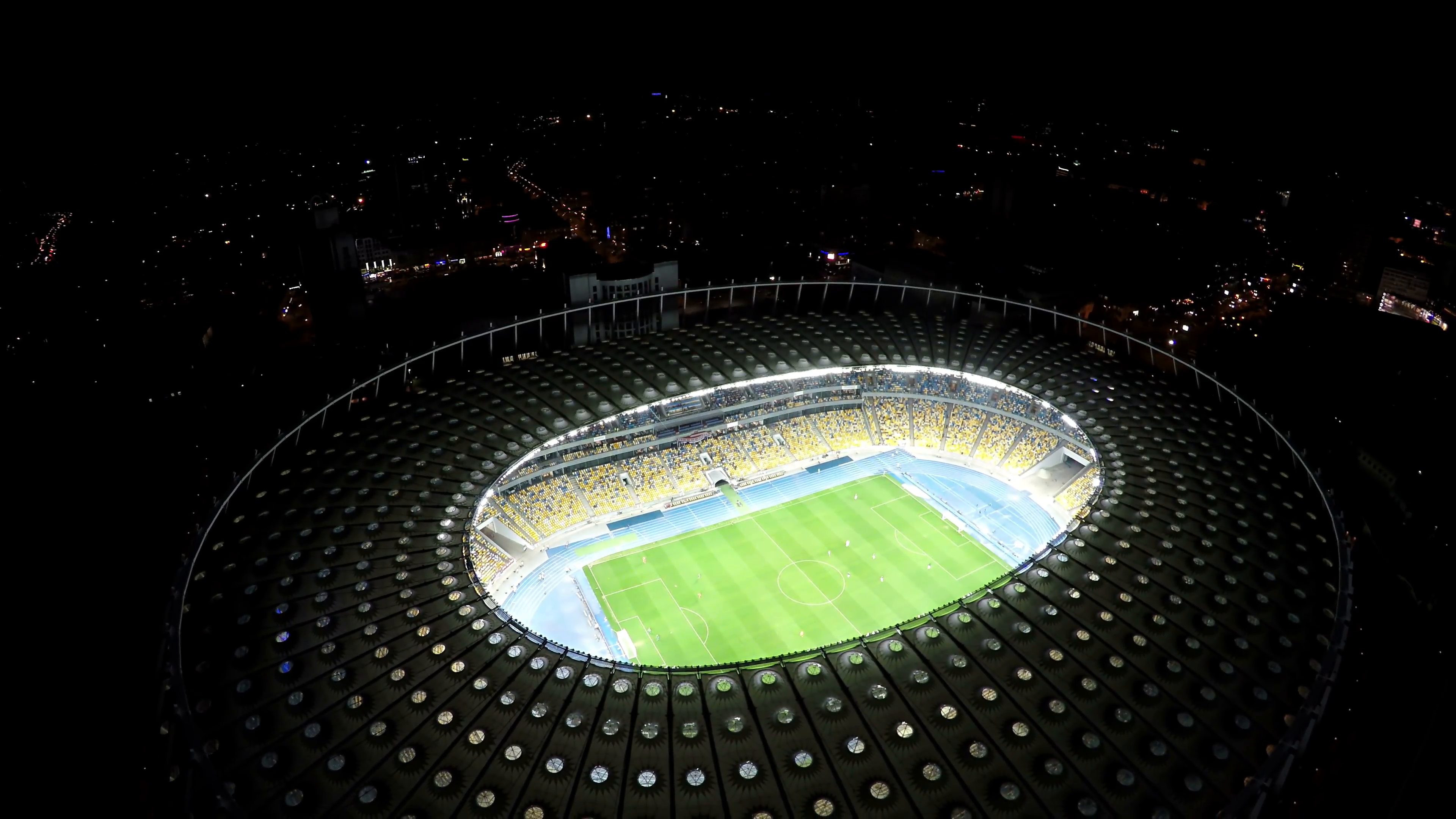 Soccer match on field at illuminated stadium, modern sports arena, aerial  shot Stock Video Footage - VideoBlocks - Sports Arena PNG