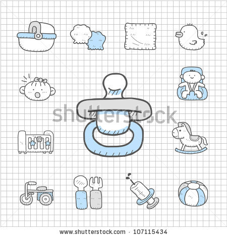 stock vector : Spotless series | Hand drawn Baby,Toy icon set - Spotless Vector PNG
