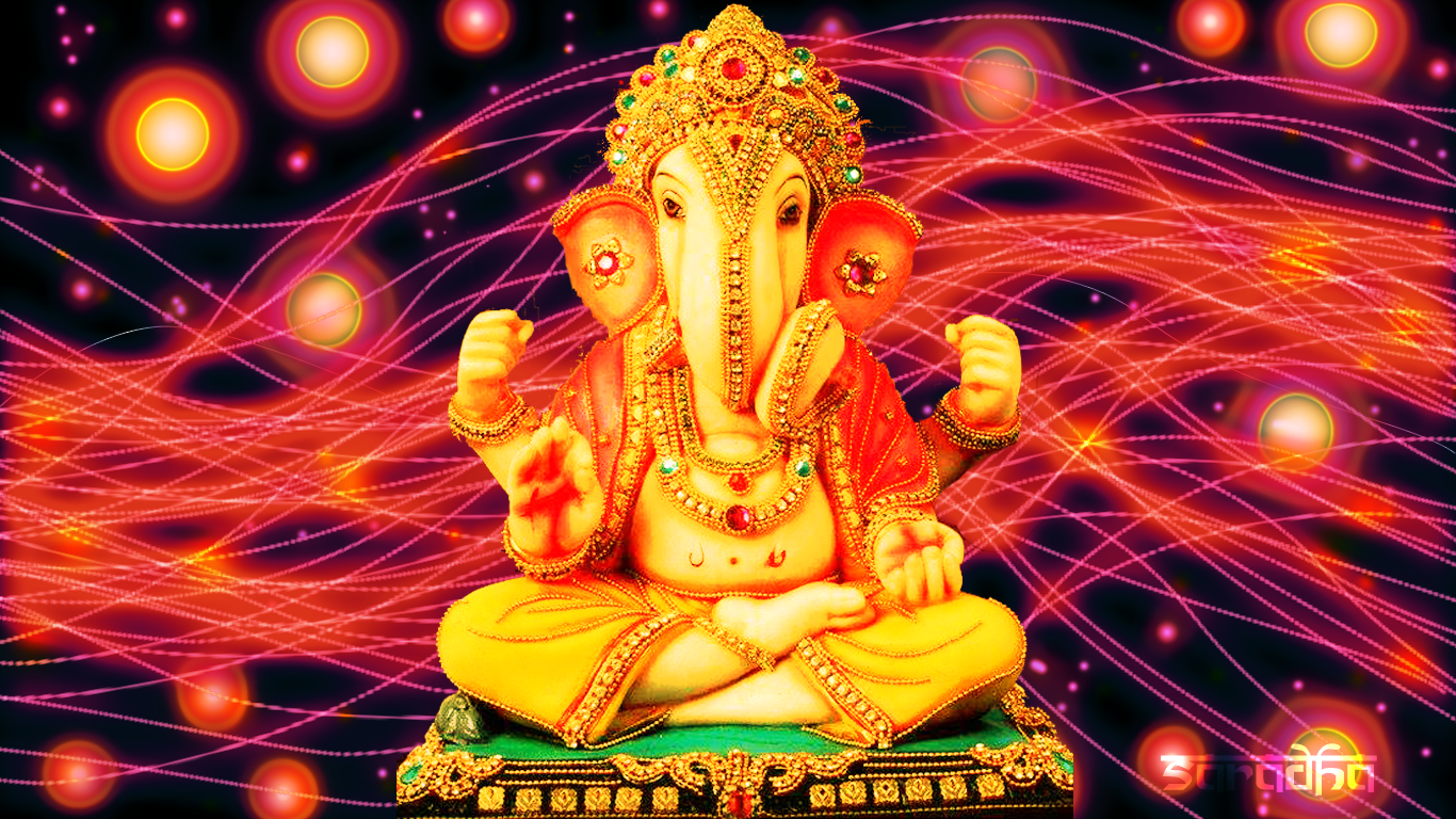 Sri Ganesha: Ganesh-Ganapati Luminescent Lines Background Wallpaper . - Sri Ganesh PNG