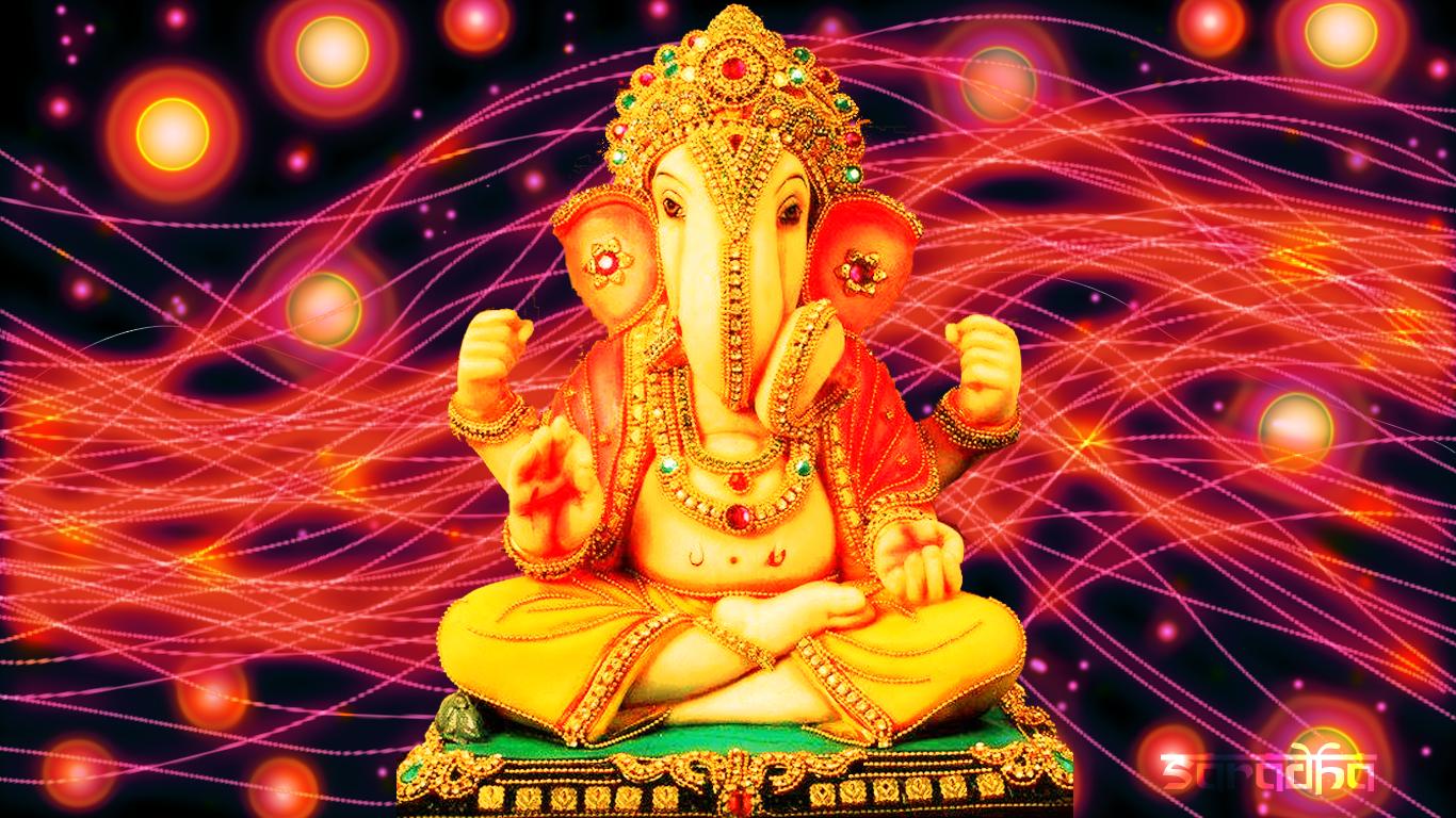 Sri Ganesha: Ganesh-Ganapati Luminescent Lines Background Wallpaper . - Sri Ganesh PNG