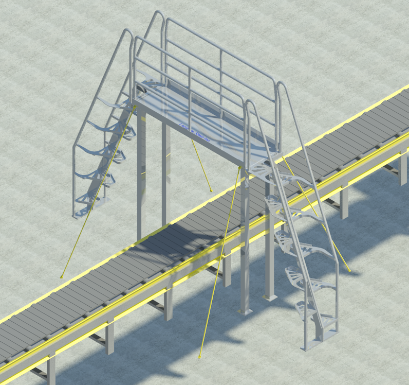 Crossover System 68° Aluminum - Stairs PNG