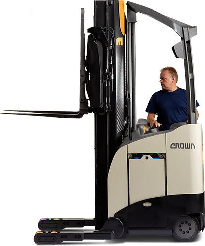 forklift operator on a crown reach truck - Stand Up Forklift PNG