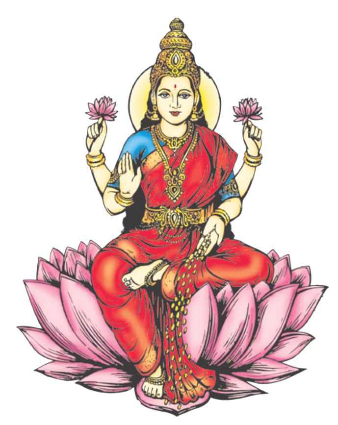 Lakshmi PNG Transparent Images - Standing Laxmi PNG