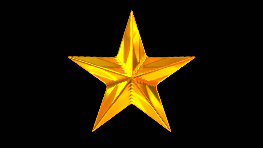 Animated spinning golden star against transparent background (Alpha channel  embedded with HD PNG file) - Star HD PNG