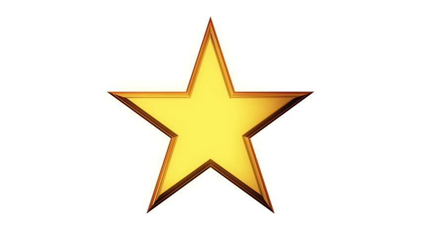 Golden Star Rotate. 3D Render