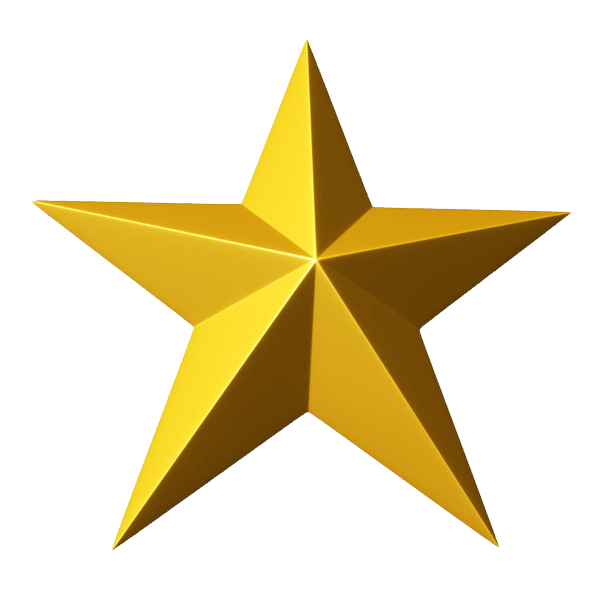 3D Gold Star PNG Clipart