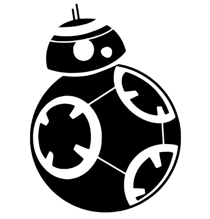 BB-8 Star Wars Silhouette Portrait File - Star Wars PNG Black And White