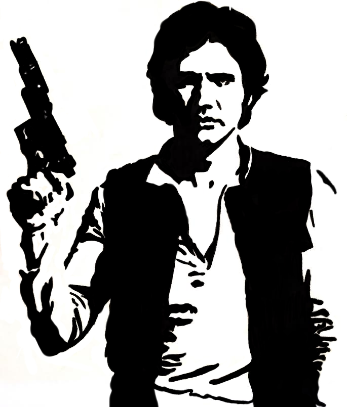 Star Wars black and white Han Solo illustration - Star Wars PNG Black And White