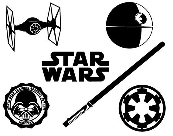 Star Wars Silhouette Files Clipart - Star Wars PNG Black And White