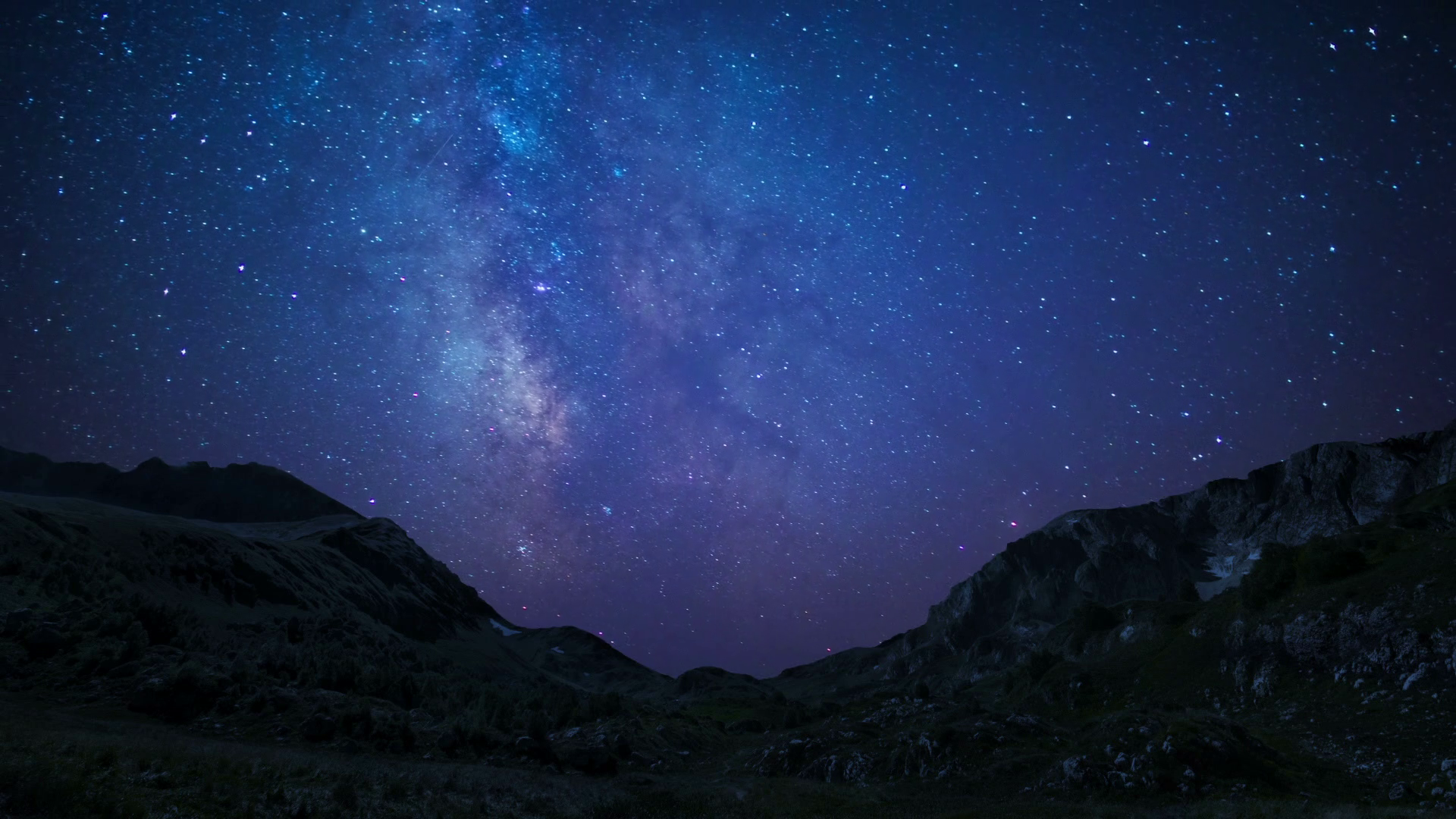 night sky stars milkyway on mountains background - Starry Sky Background PNG
