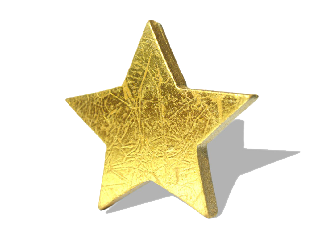 Golden star rotate. 3D render