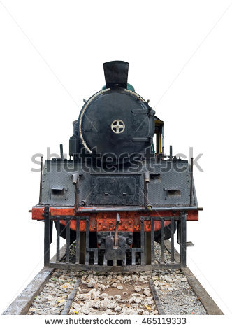 Front train locomotive steam vintage on railway - Steam Train PNG HD