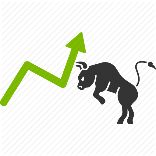 bull, chart, growth, positive trend, stock market, trading icon - Stock Market PNG