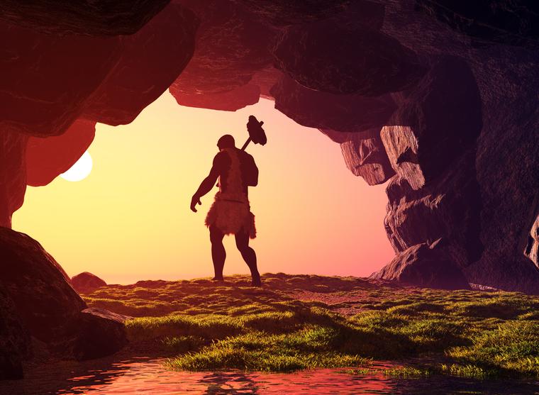 paleo-man - Stone Age Man Hunting PNG