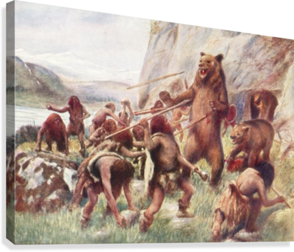 . PlusPng.com Stone age man hunting wild bears. After a work c.1920 Canvas Print PlusPng.com  - Stone Age Man Hunting PNG
