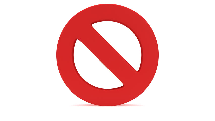 No Sign rotating on white back. Forbidden. Prohibition. 3D render  animation. - - Stop PNG HD