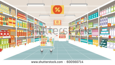 Supermarket Aisle With Shelves, Grocery Items And Full Shopping Cart, Retail  And Consumerism Concept - Store Shelf HD PNG