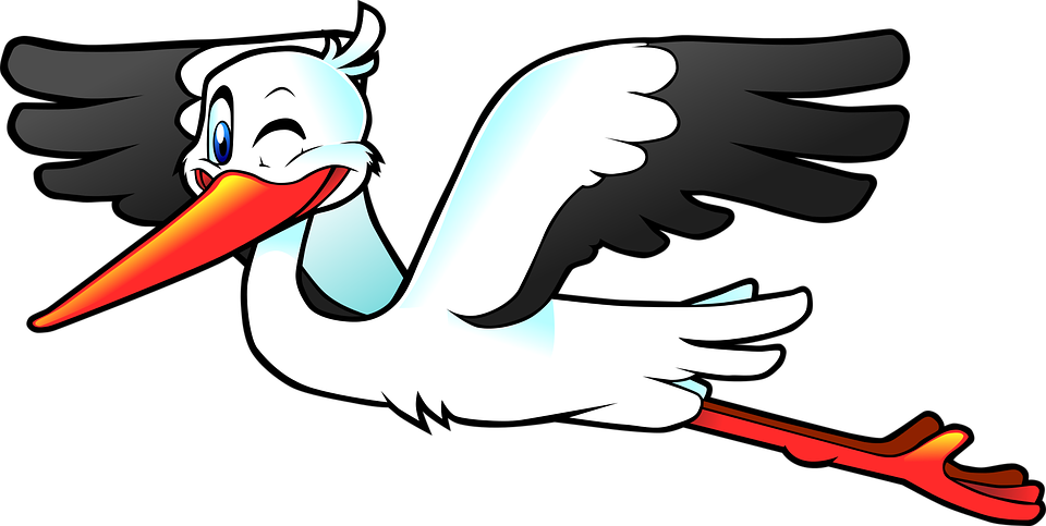 Stork, Bird, Fly, Wings, Anthropomorphized, Cartoon