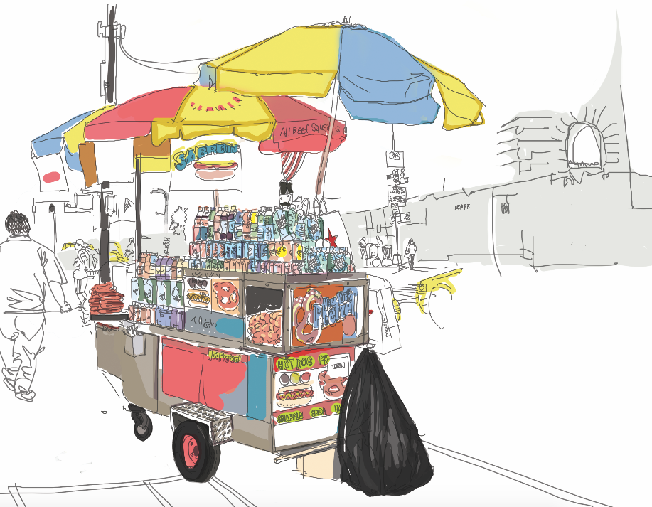 While sketching New York Street, I found charms of each various street  vendor in NYC. It was originally drawn in a rough sketch. Later I developed  it for a PlusPng.com  - Street Vendor PNG