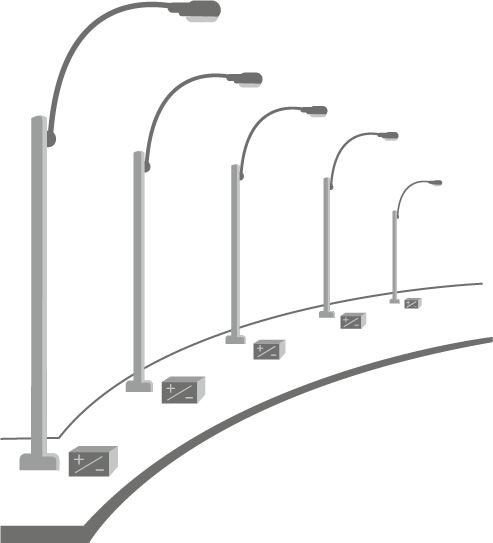 Distributed solar power street lights. - Streetlight PNG HD