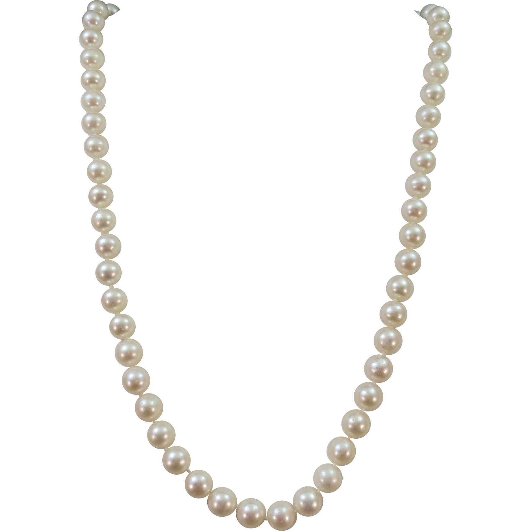 VINTAGE 18 Inch String of knotted Fresh-water pearls 8mm Well Matched :  Ruthu0027s Antiques | Ruby Lane - String Of Beads PNG