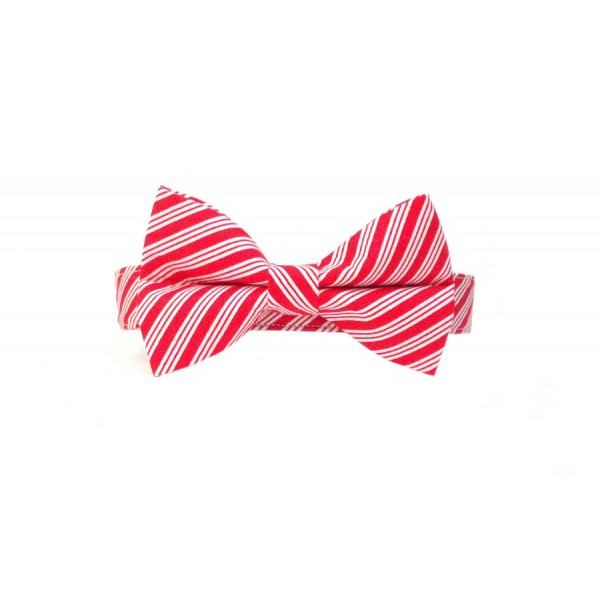 Candy Cane Stripe Christmas Dog Collar with Matching Bow Tie - Striped Bow Tie PNG