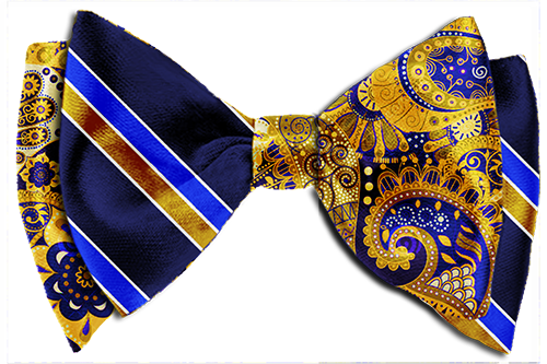 The Gold u0026 Blue Favor Bow Tie-Gold Blue Paisley- Gold Blue Stripes- - Striped Bow Tie PNG