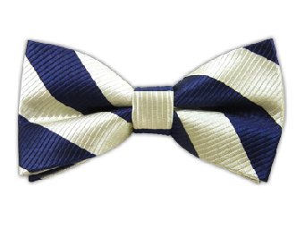 White/Navy Stripes Bowtie; B417.png - Striped Bow Tie PNG