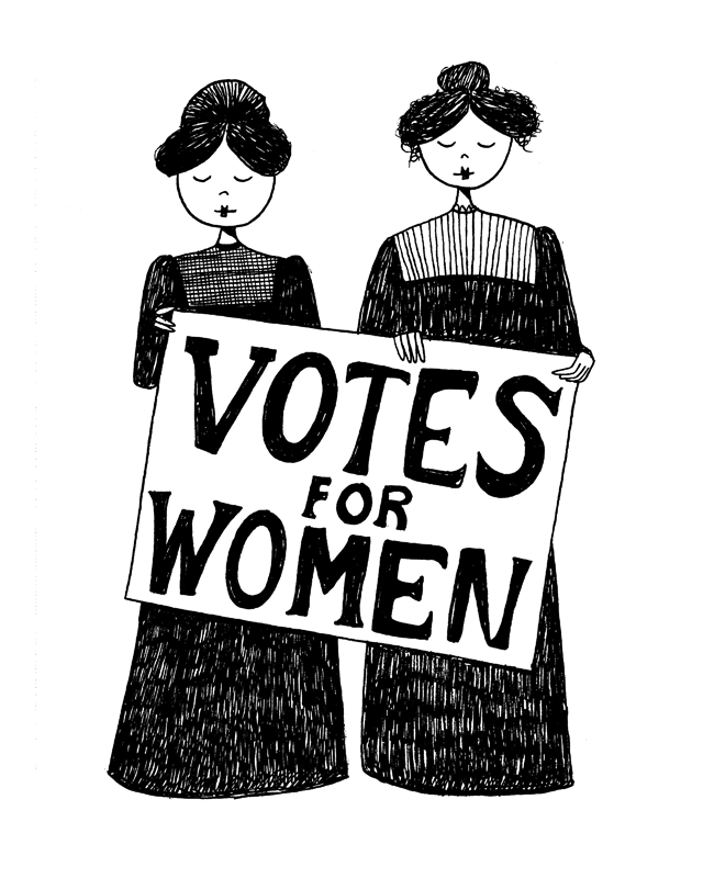 Votes for women // suffragette feminist art print by flapperdoodle - Suffragettes PNG
