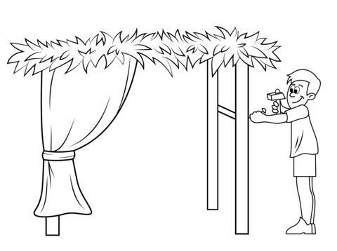 Click to see printable version of Building a Sukkah for Sukkot Coloring page - Sukkah PNG Free